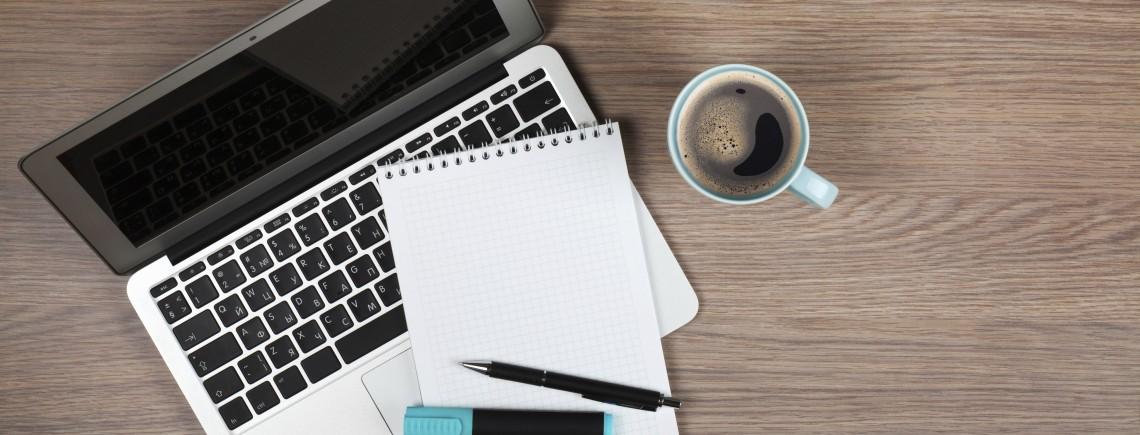 AHAA Living: Success 101, computer, coffee, notepad, inspired